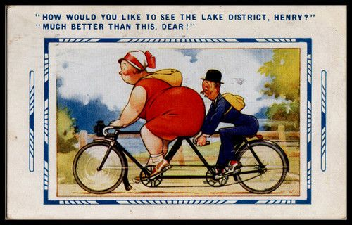 C1932 Bamforth Comic Postcard Cycling Bicycle Tandem BBW Fat Lady Lake District