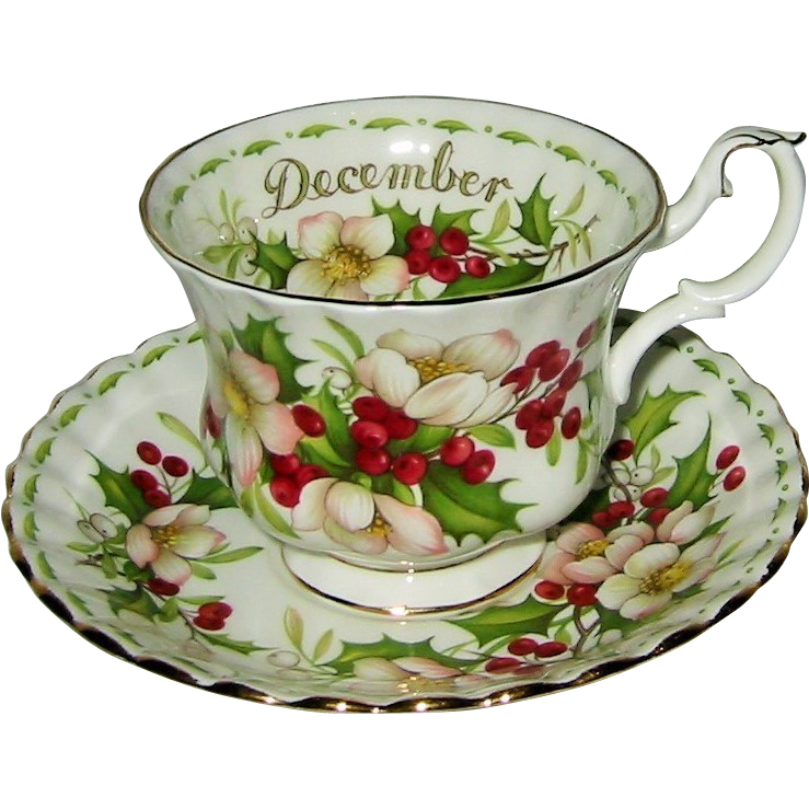 Royal Albert Flower Of The Month December Teacup Set Christmas From Auntyannesattic On Ruby Lane In 2021 Tea Cups Tea Cups Vintage Christmas Tea