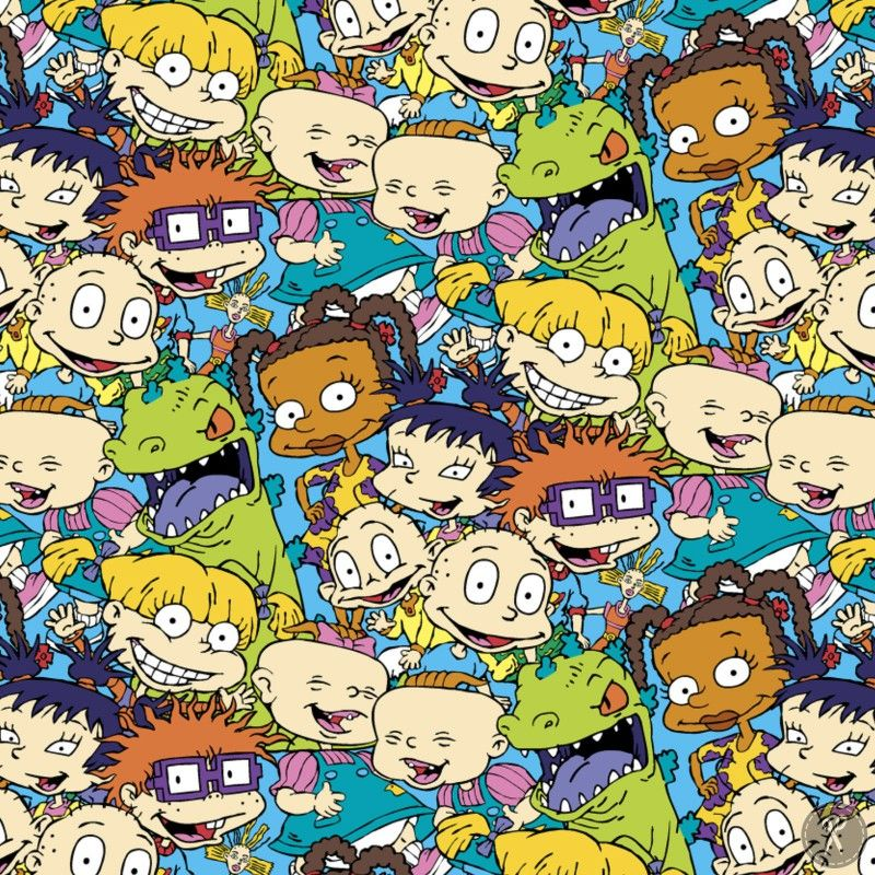Rugrats Packed Characters Fabric Multi In 2019 Cartoon