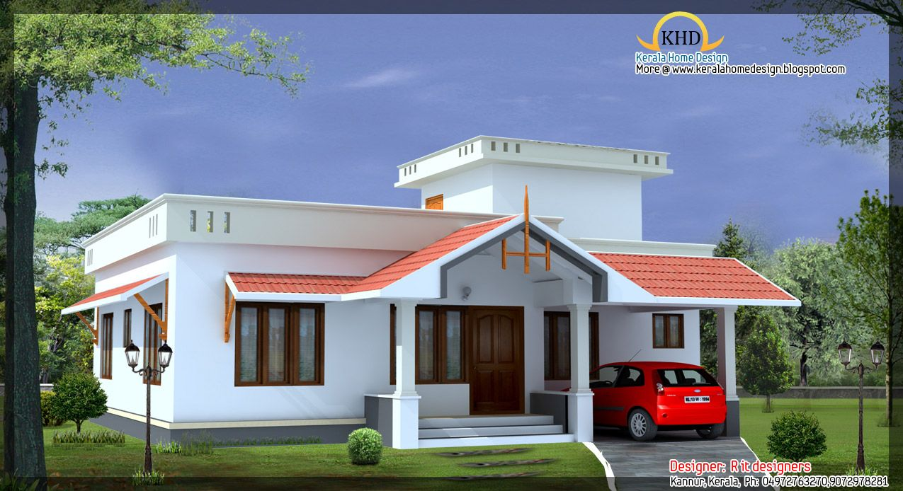 Front elevation of single floor house kerala gallery