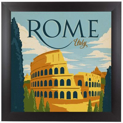 East Urban Home Rome Framed Vintage Advertisement Wayfair Retro Travel Poster Vintage Travel Posters Italy Poster