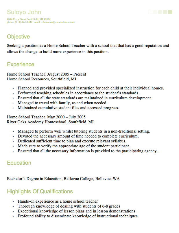 Homeschool Teacher Resume  HttpResumesdesignComHomeschool