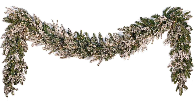 9 X 14 Pre Lit Flocked Fraser Fir Garland 200 Clear Lamps Christmas Garland Garland Snowy Christmas Scene