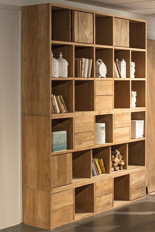 De plantage teakhouten boekenkast pinksterbloem is een for Teakhouten kast