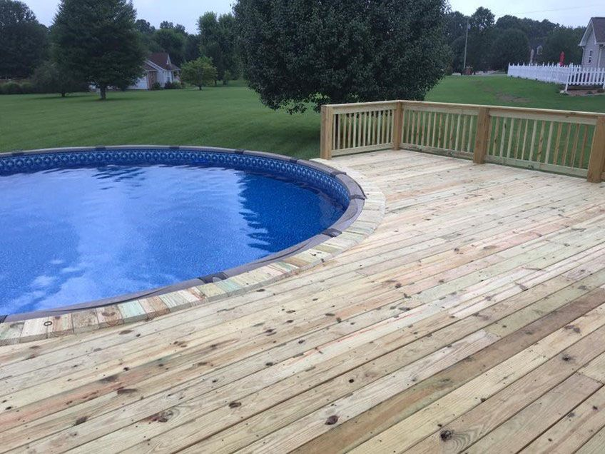 This Deck Was Attached To The House And Pre Existing Deck It Went Halfway Around The Pool Pool Deck Plans Swimming Pool Decks Round Above Ground Pool