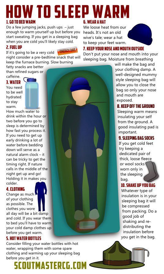 How to sleep warm.  I agree w/all of these with one addition: If you plan on changing your cloths in the morning, always remember to stuff them in your sleeping bag the night prior so they're pre-warmed :)