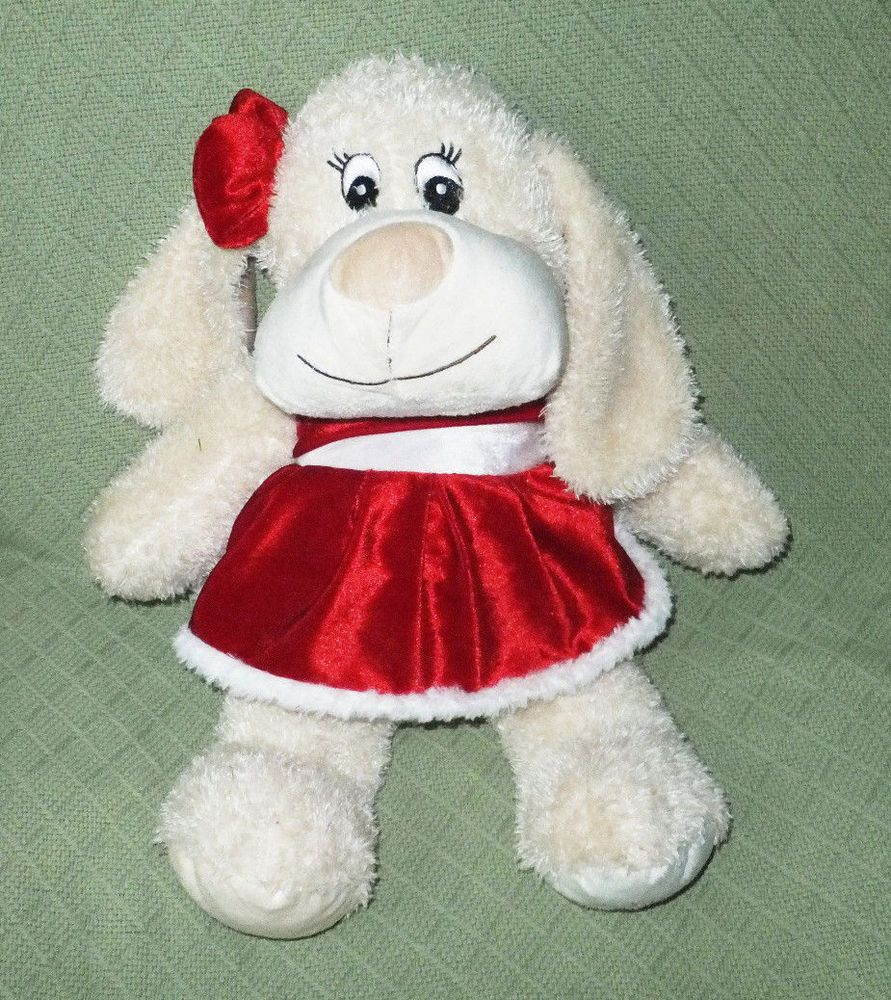 "18"" Christmas Dog 2013 Red Dress & Bow SQUEAKER Plush Stuffed Animal Doll Soft #seedescription"