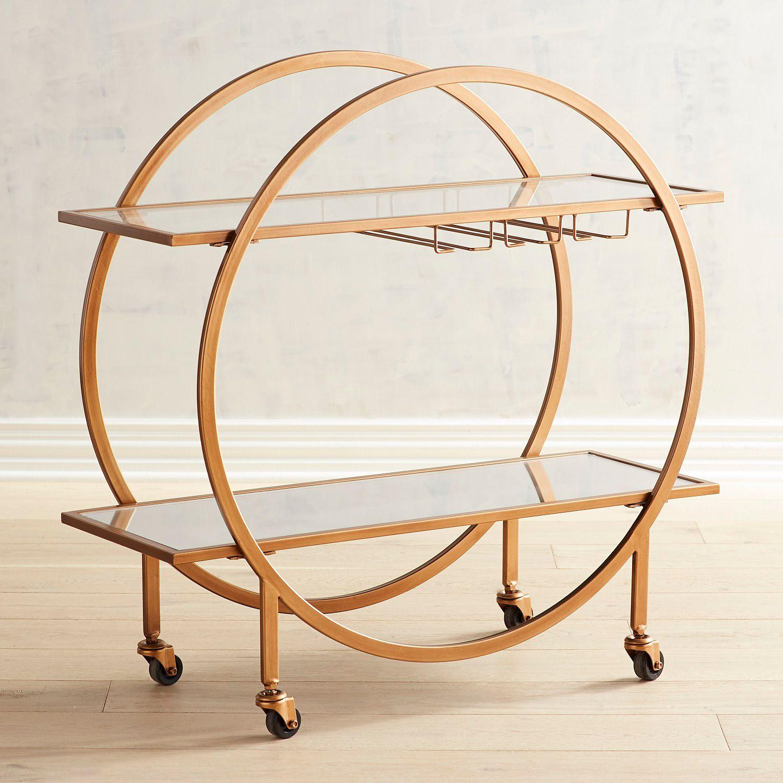 Round Art Deco Antiqued Gold Bar Cart Mom S Remodel