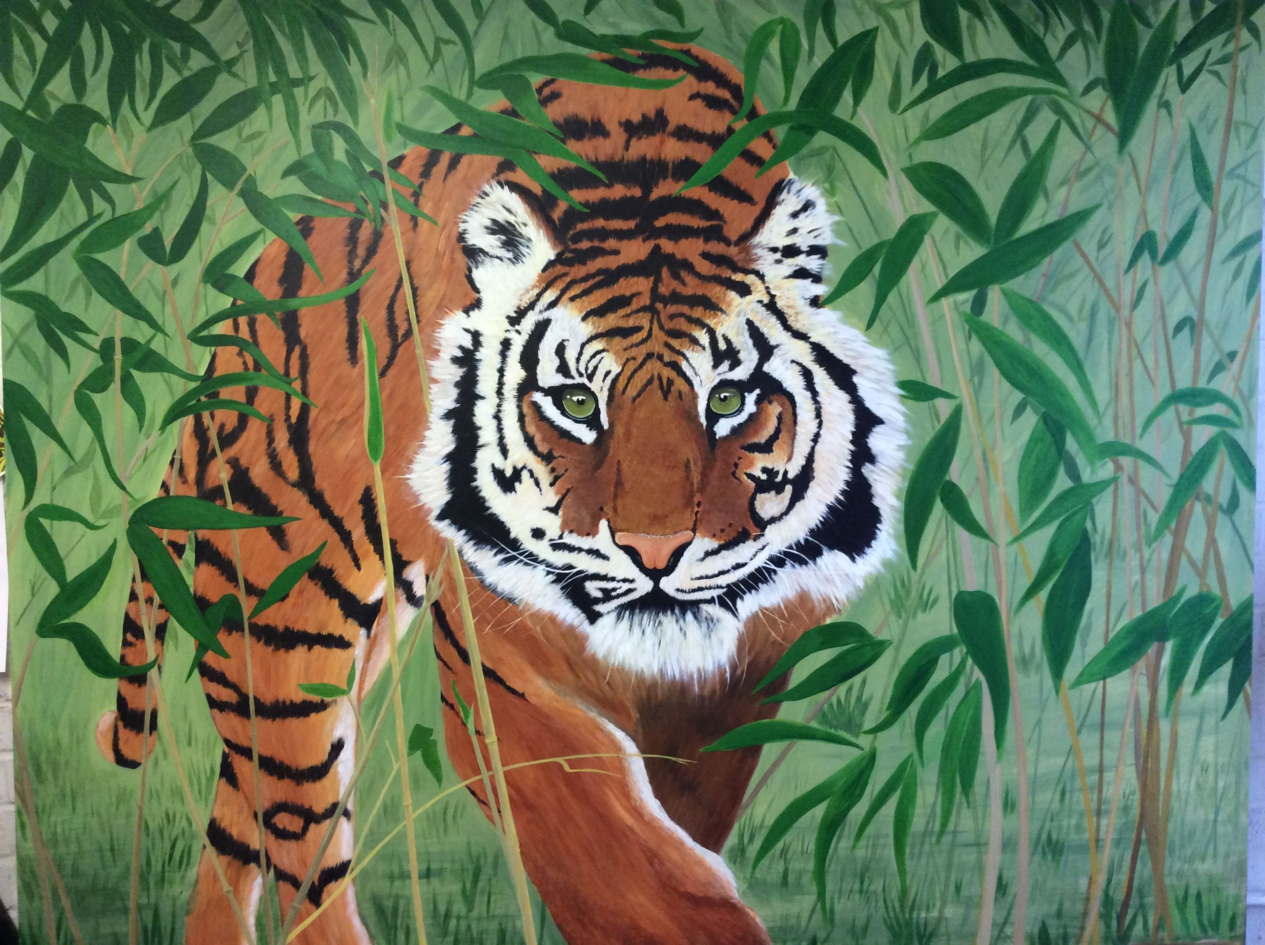 Tiger Mural By Murals By Wallworx Jungle Mural Mural Painting Cat Safe Plants