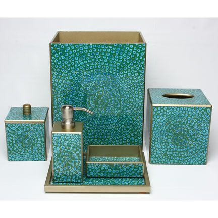 Mosaic turquoise bath accessories by waylande gregory for Teal bathroom accessories sets