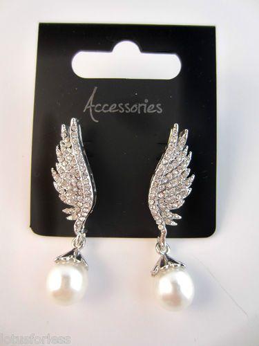 Art Deco Style Diamante Crystal & Faux Pearl Angel Wing Dangle Drop Earrings | eBay