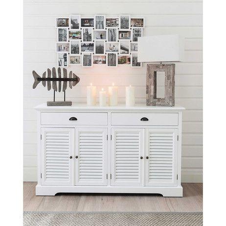 buffet en bois blanc l 150 cm appart pinterest barbade bois blanc et buffet. Black Bedroom Furniture Sets. Home Design Ideas