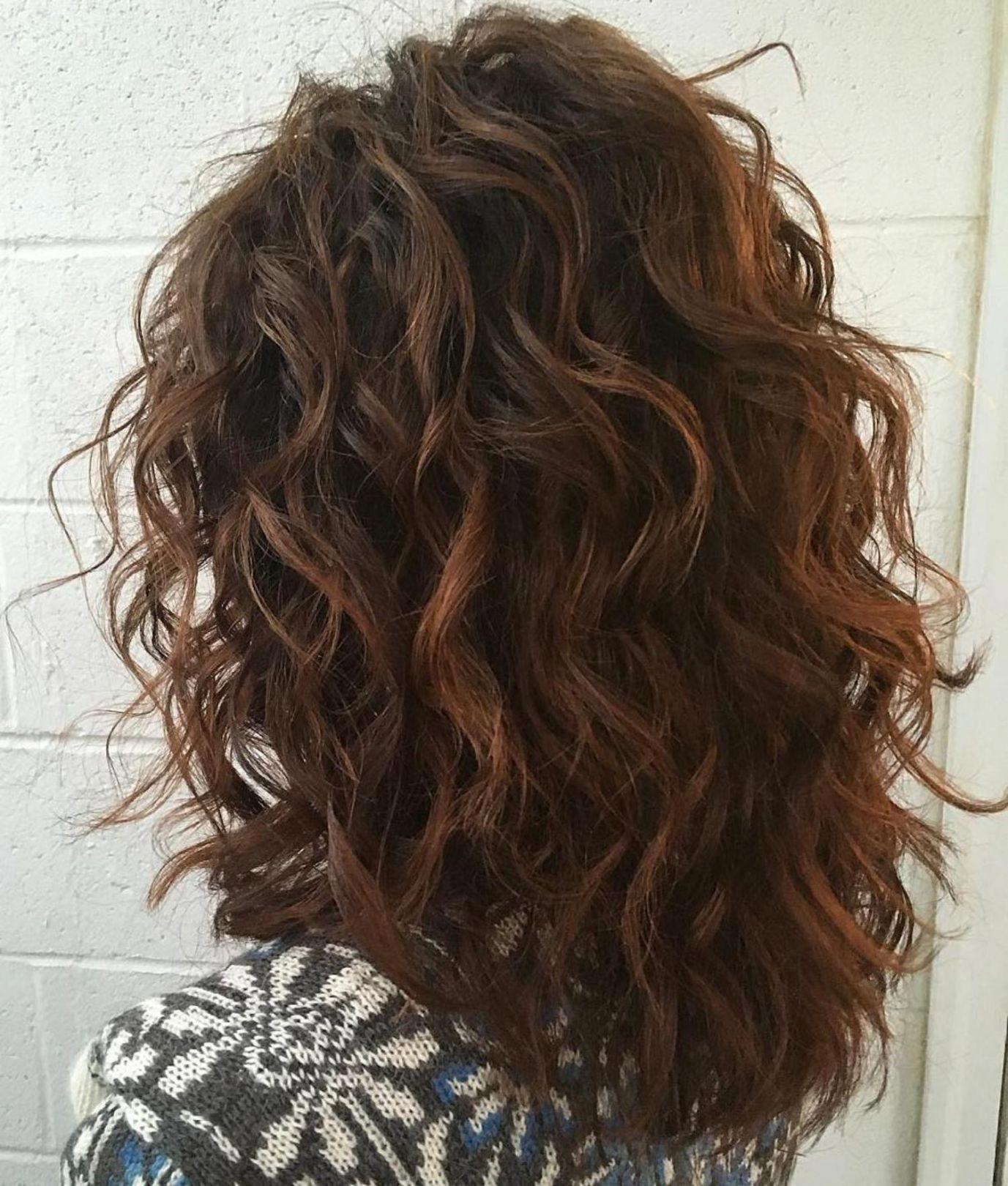 Mid Length Curly Layered Haircut Curlyhaircuts Thick Wavy Hair Natural Wavy Hair Haircut For Thick Hair