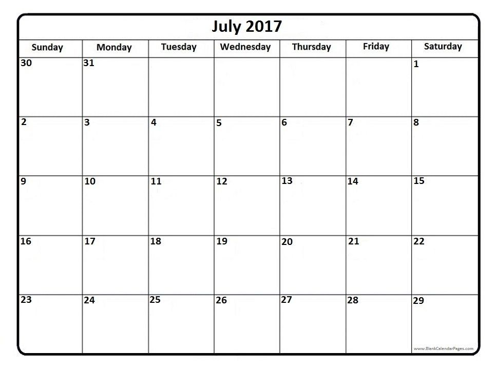 June Printable Calendar 2017 Free Download – July Calendar 2017