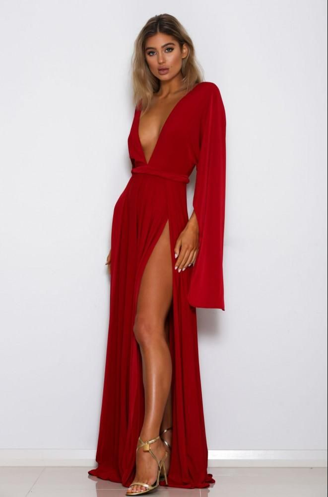 Abyss by Abby - Shari Long sleeve red evening gown with thigh slit ...