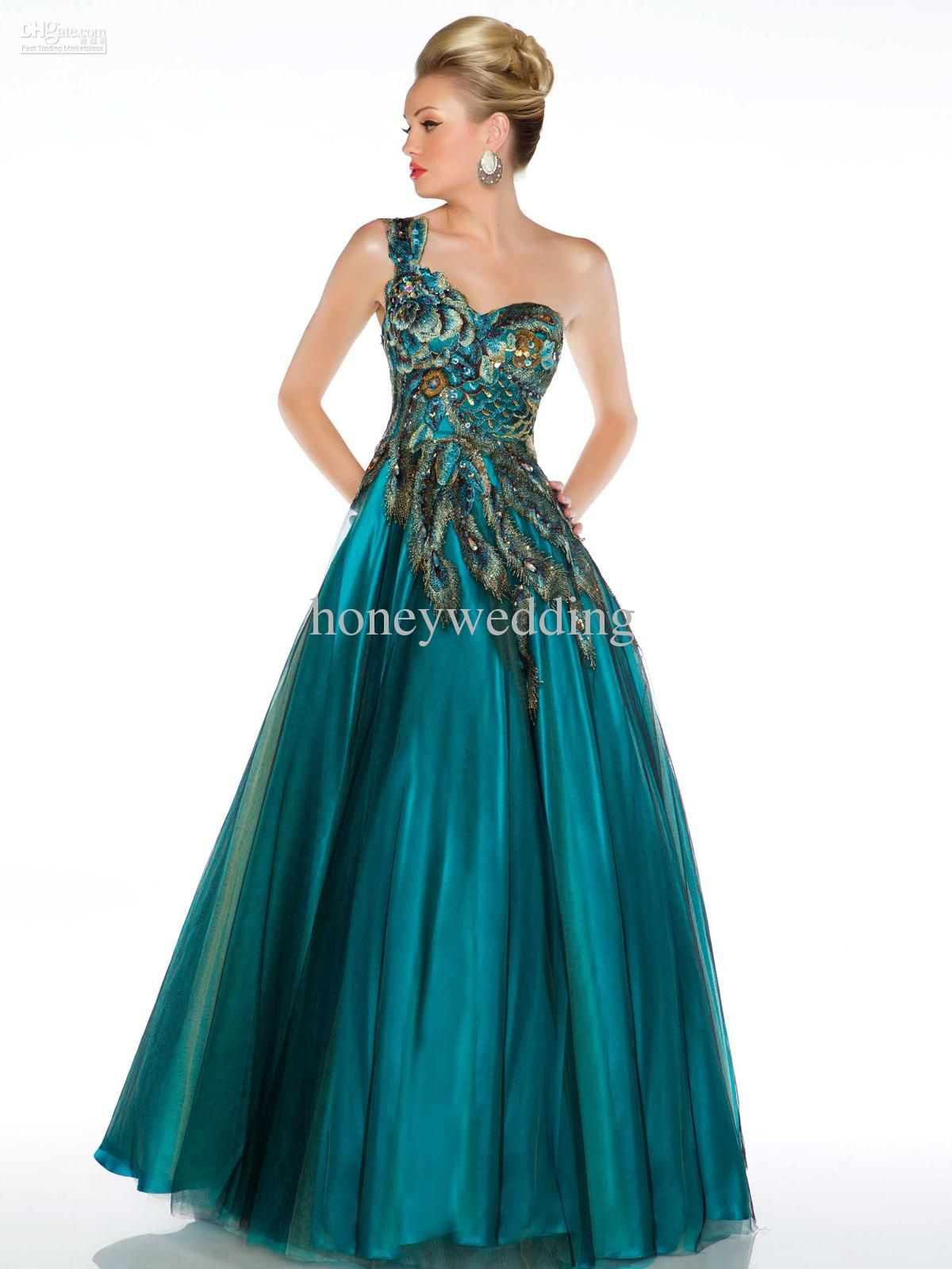 Teal Peacock Bridesmaid Dresses One shoulder prom dresses 2015 ...