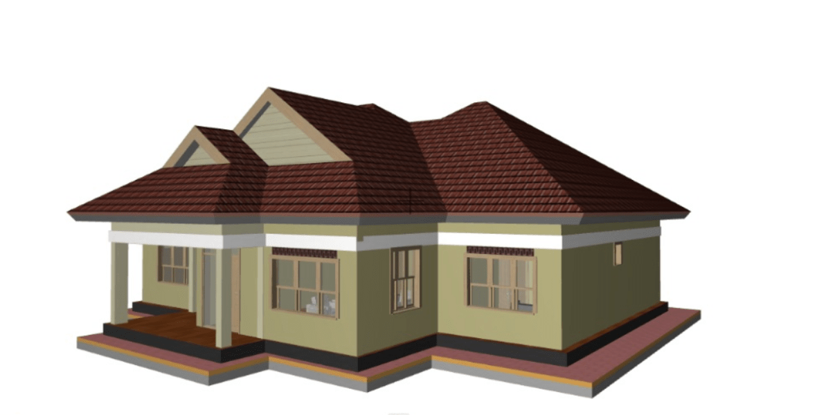 Simple 2 Bedroom House Plan with garage in