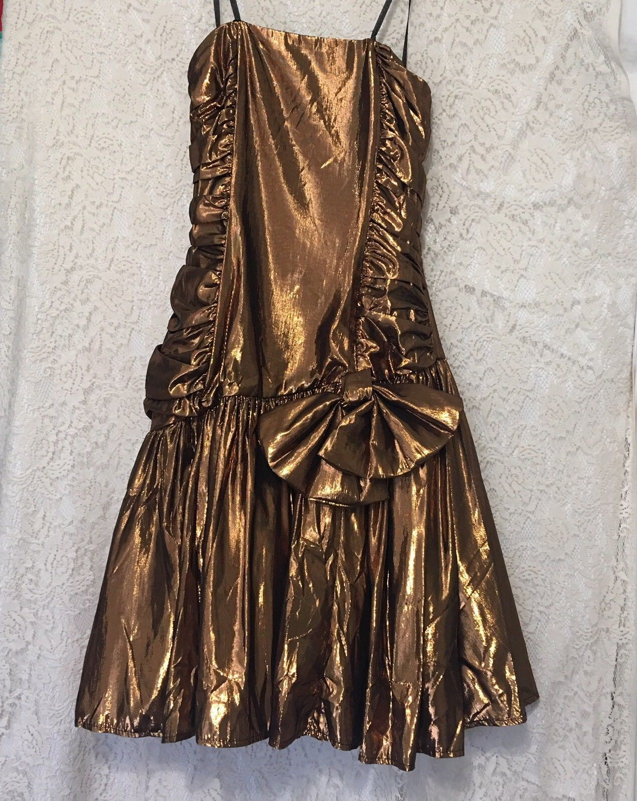 Awesome awesome vtg metallic copper bronze s prom dress halloween