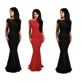 a4e382653f7 Black Navy Red Bardot Lace Fishtail Maxi Evening Dress Gothic Off Shoulder