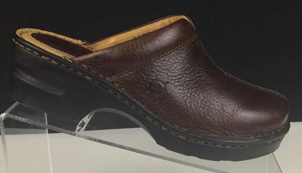 7f2ec4912d3ba Details about Born Womens Leather Slides Mules Clog Slip On Shoes ...