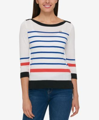 TOMMY HILFIGER Tommy Hilfiger Striped Boat-Neck Sweater, Only At Macy'S. #tommyhilfiger #cloth # sweaters