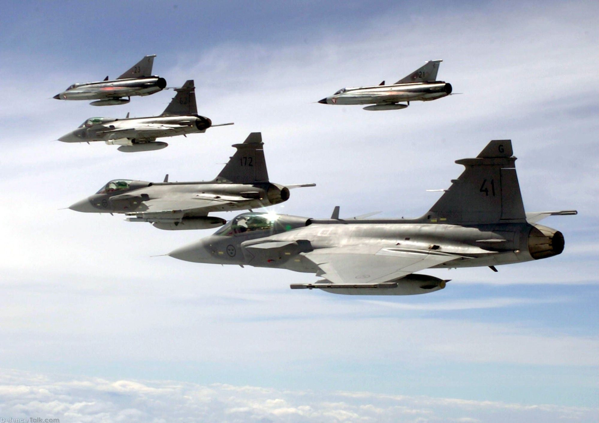 Draken and Gripen formation