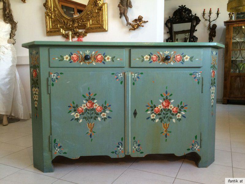 Luxury Originale Anrichte Ladenkommode Sideboard Handbemalt Bauernm bel Nr Bauernmoebel Folk Painted Furniture Pinterest