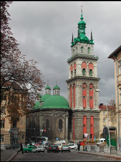 The Chuerch of the Lviv Dormination Brotherhood(1591 ) and the Korniakt Tower (1578), UKRAINE, from Iryna