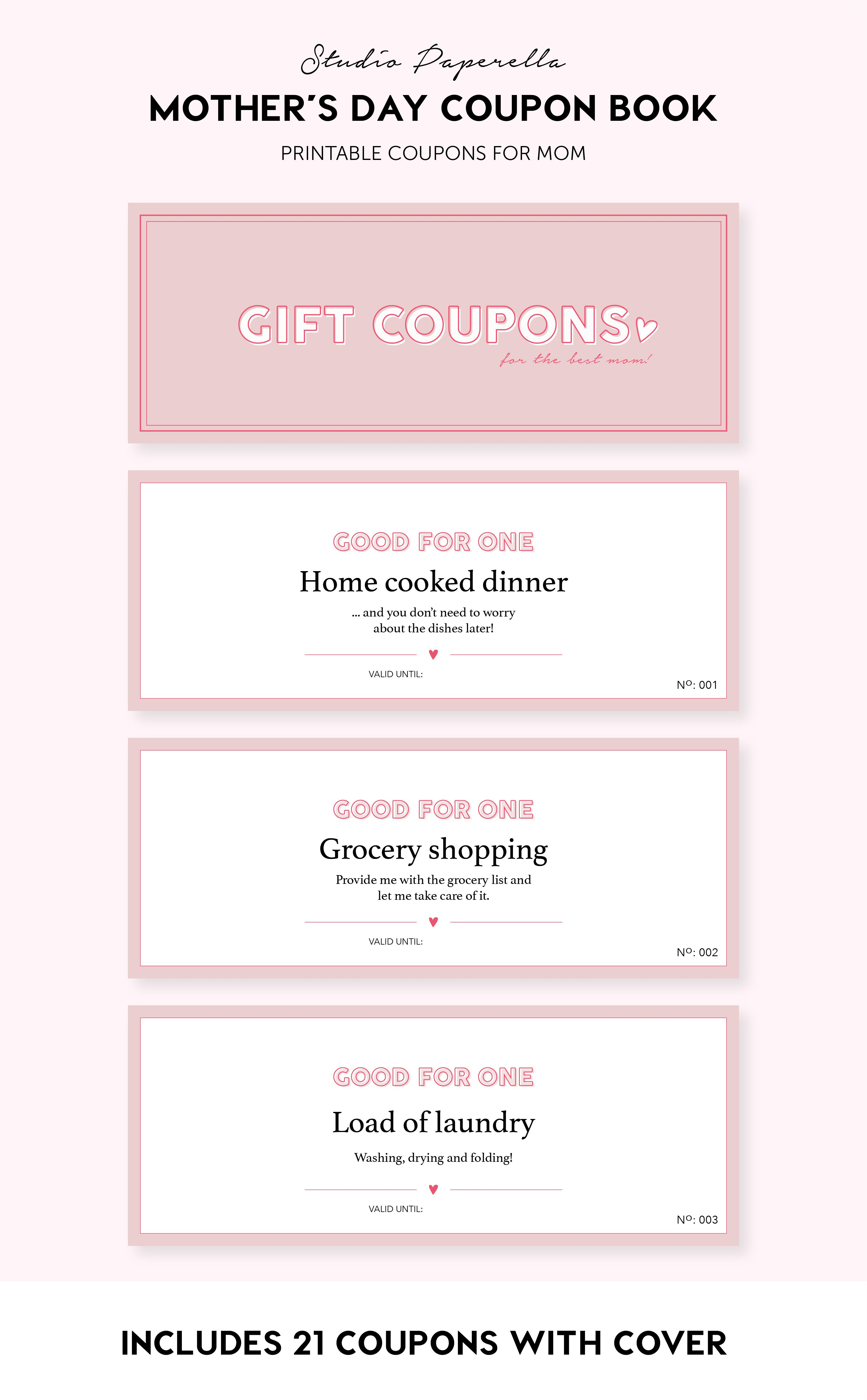 Printable Gift Coupons For Mom Last Minute Gift Diy Printable Gift Coupon Book Mom Gift Mother S Day Gift For Mum Coupon Book Mother S Day Coupons Printable Coupon Book