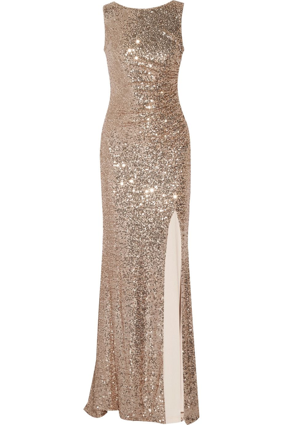 Shop on-sale Badgley Mischka Draped sequined tulle gown. Browse ...