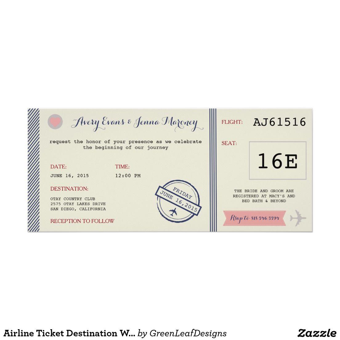Airline Ticket Destination Wedding Invitation | Zazzle.com | Destination wedding  invitations, Wedding invitations, Destination wedding