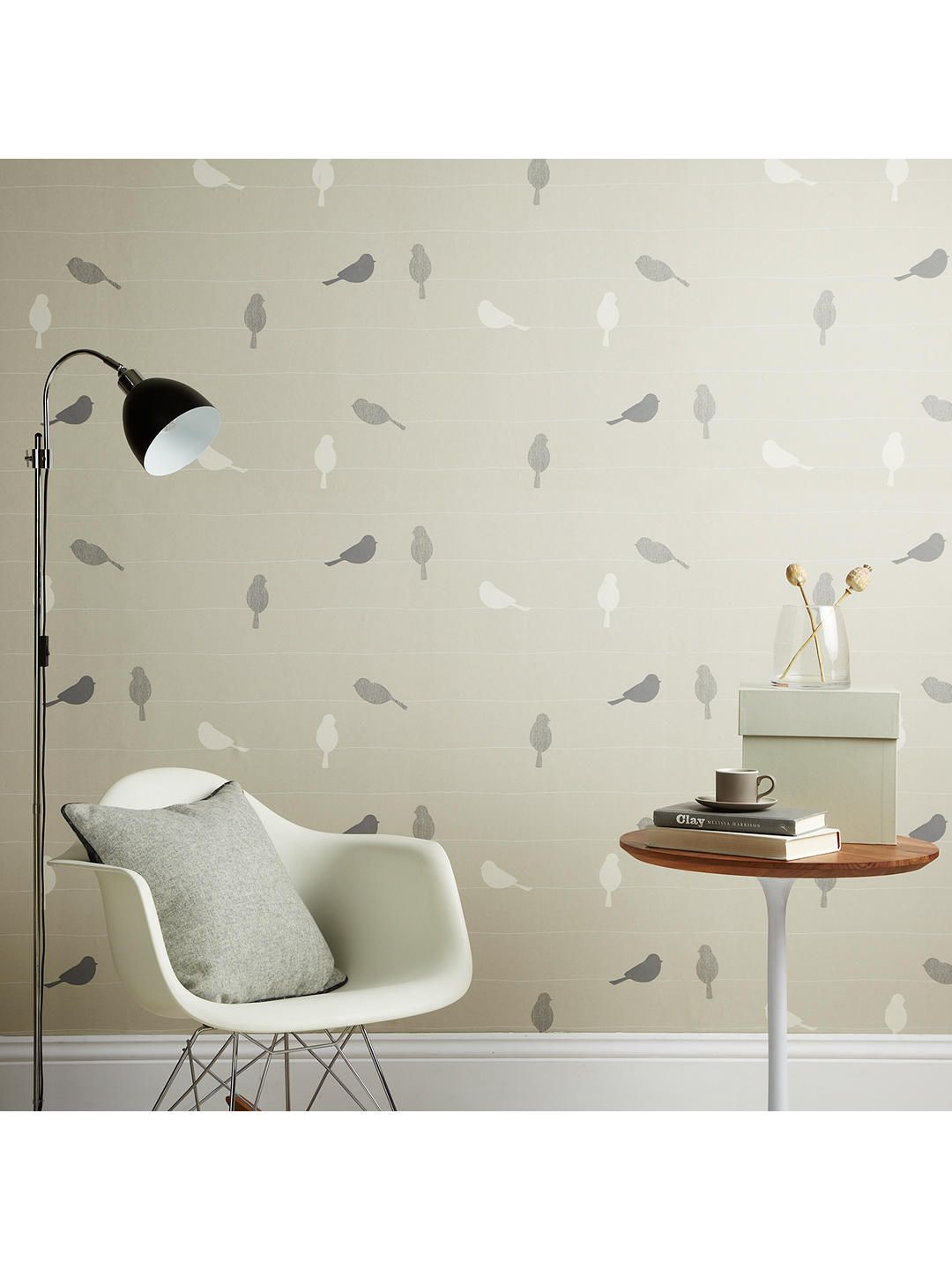 John Lewis Bird On A Wire Wallpaper Putty Bird Wallpaper
