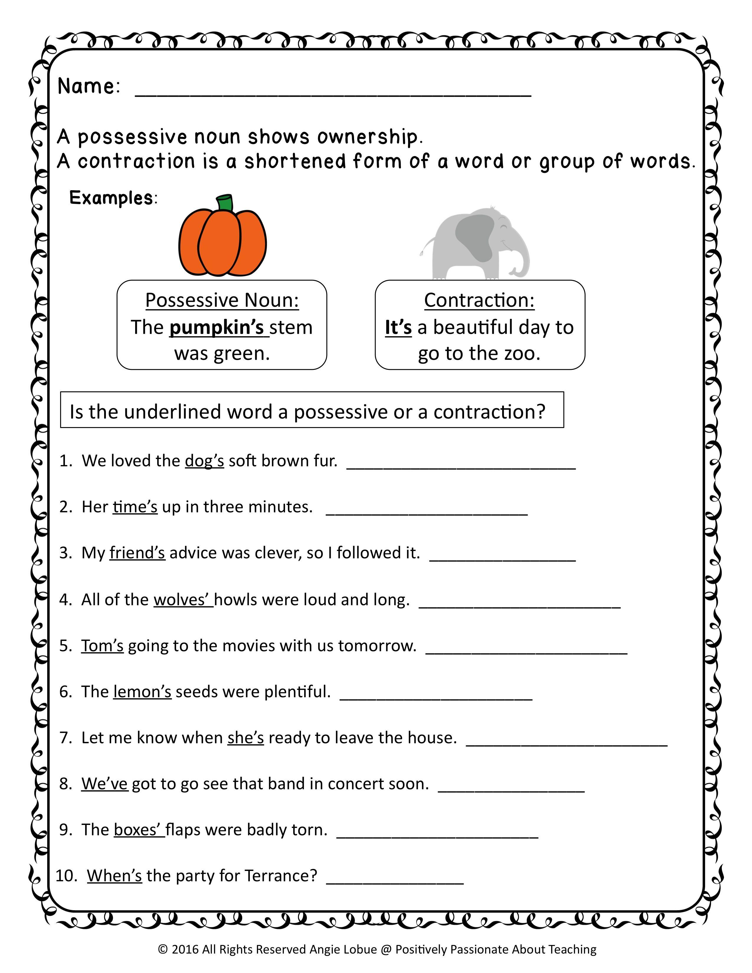 medium resolution of Contractions Possessives Worksheets Kindergarten   Printable Worksheets and  Activities for Teachers