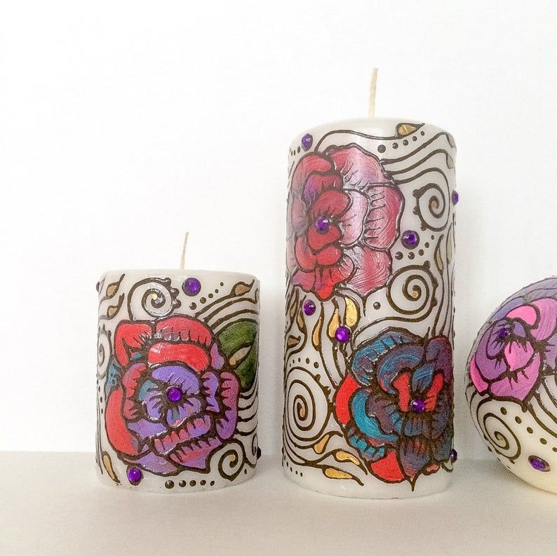 Pillar Candle decorated with henna design hand painted for PartyWeddingMehndiDiwaliHouse WarmingChristmasGift Favor /& Decor