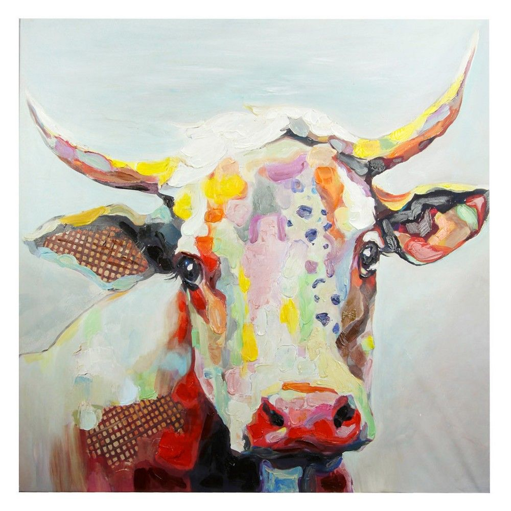 50 Colorful Cow Printed Canvas Decorative Wall Art Stylecraft Multi Colored Cow Canvas Cow Wall Art Cow Art
