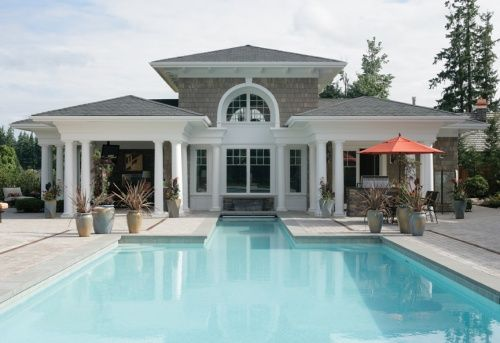 swimming pool styles and types | pool houses, pool house designs