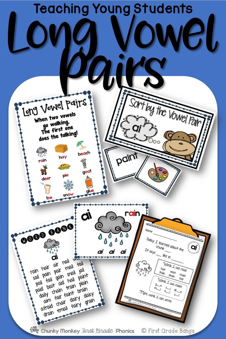 Young students need to master long vowels to become successful readers! This unit has everything you need to teach ai, ay, ea, ee, ie, ue, and the long sound of ow. It includes mini-lessons and word banks to independent work and literacy center activities. $