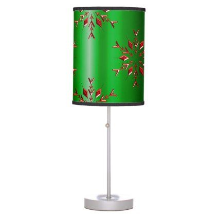 Home Lamps Decor Red Snowflakes On Green Christmas Table Lamp