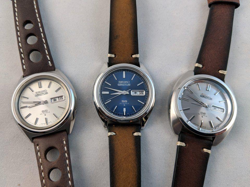 Group Of Seiko 5 Actus Actii On Dassari Watch Straps Watch Strap Seiko Brown Watch Strap
