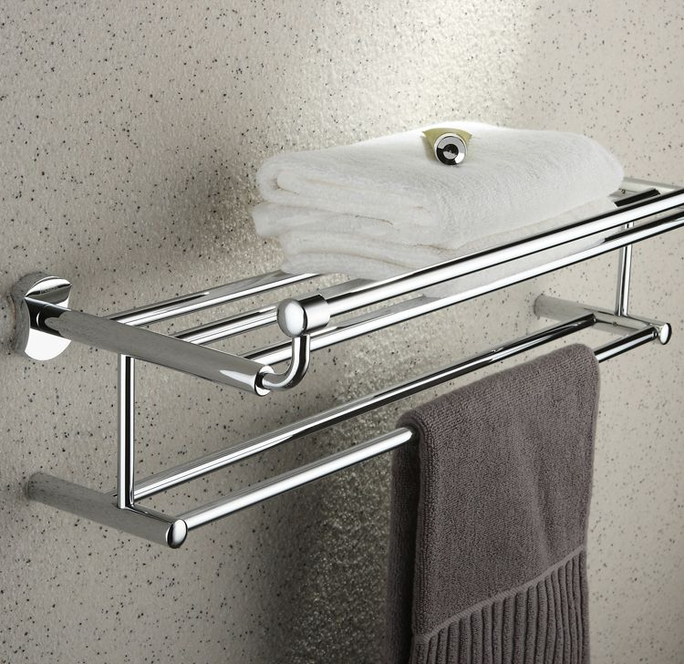 Where To Put Towel Bars In Bathroom: Chrome Finish Bathroom Rack With Towel Bar TCB2004
