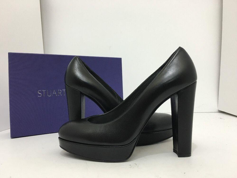 1092027e978 Stuart Weitzman Strongswoon Black Leather Women s Platform High Heels Pumps  7.5…