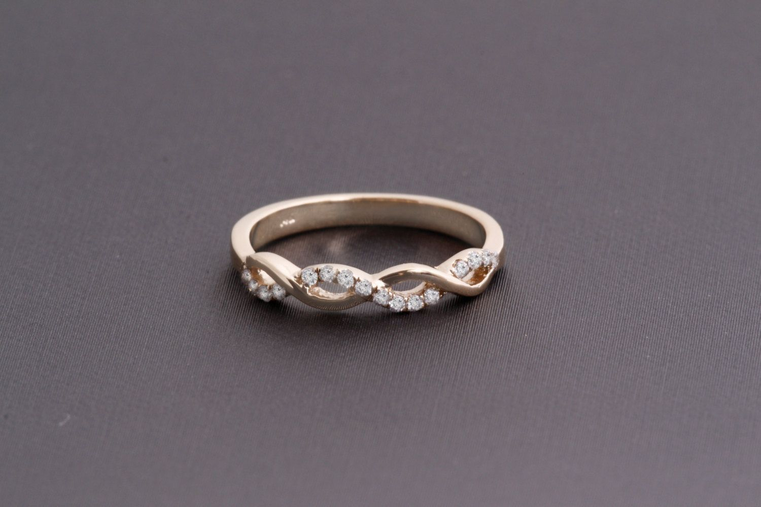 Art Deco Solid 14k Gold Braided Wedding Band with Diamonds