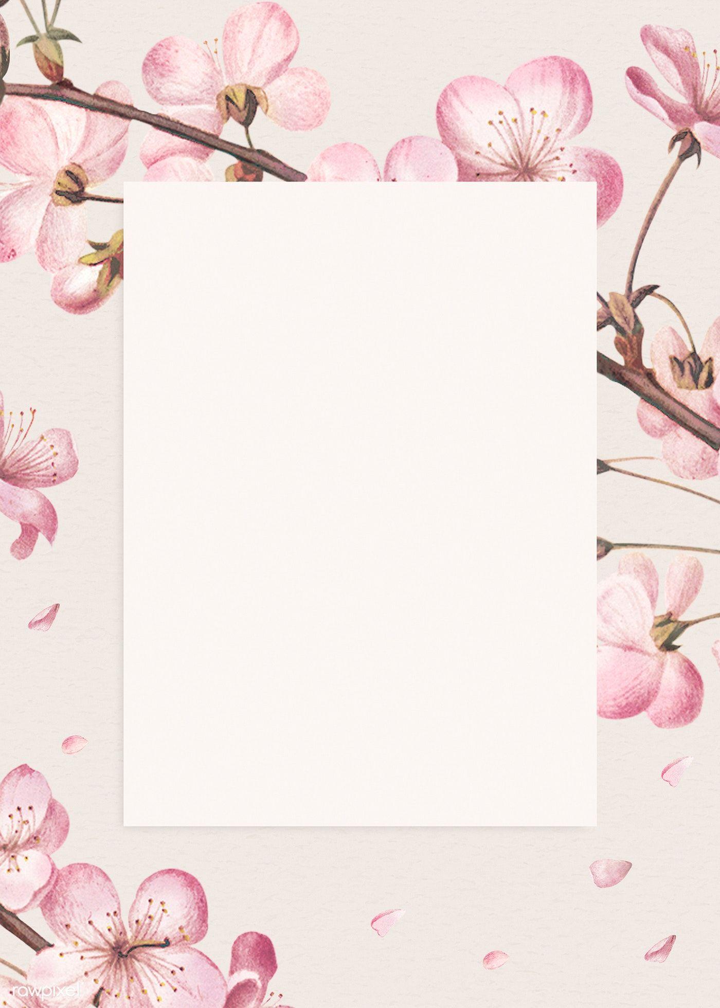 Download premium illustration of Blank pink floral card