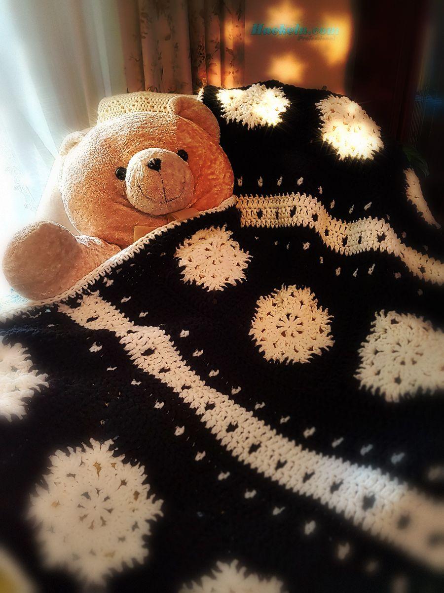 Schneeflocke Winterdecke Weihnachten Kostenlose Anleitung Häkeln