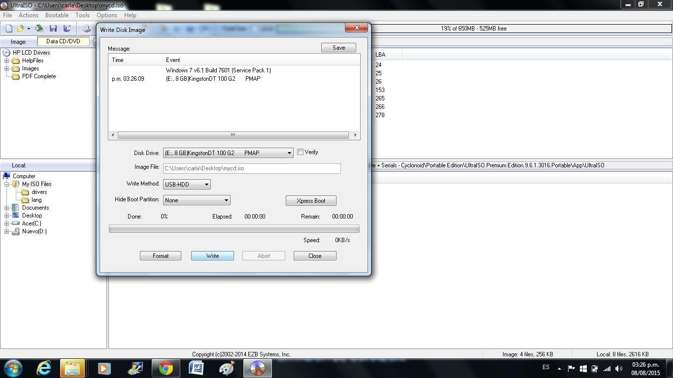 """CONFECCIONAR UN USB BOOTABLE: 4. Seleccionar pendrive y modo de grabación (recomendado USB-HDD) 5. Clic en """"Grabar"""" y comenzará a copiar los archivos."""