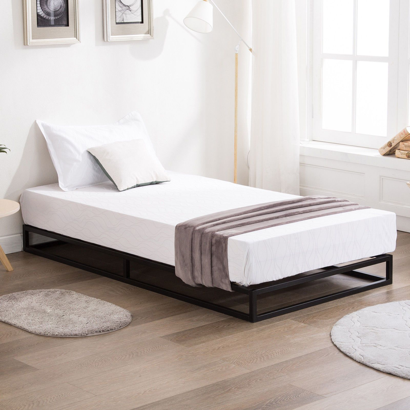 Twin/Full/Queen/King Metal Platform Bed Frame Wood Slats