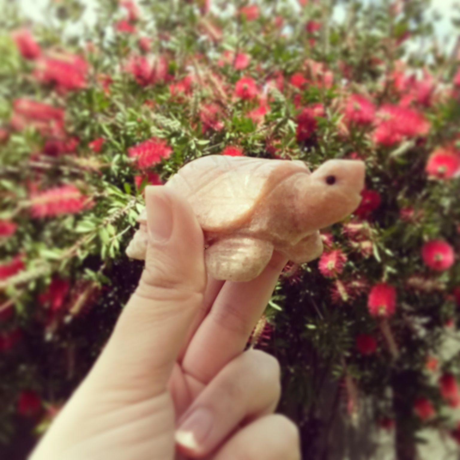Tortuga rosada, hecha en piedra onix.