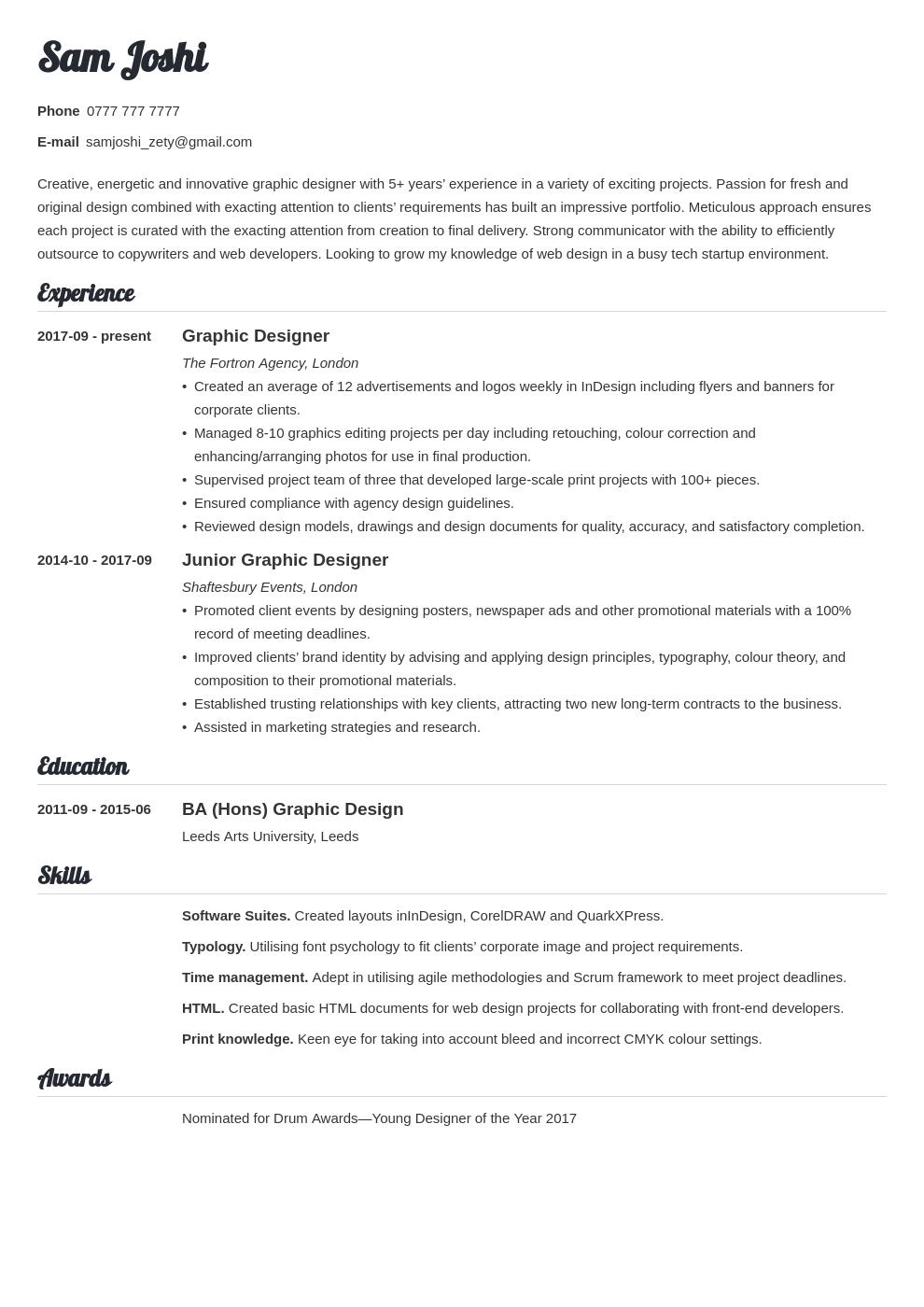 uk graphic designer cv example template valera in 2020