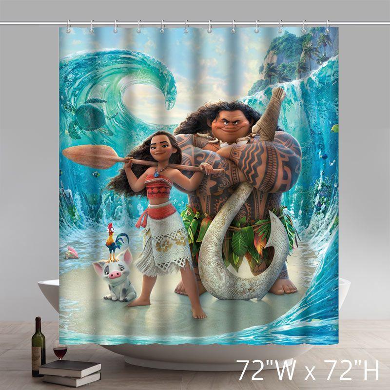 Moana Movie Waterproof Anti Mildew Polyester Fabric Bathroom Shower Curtain
