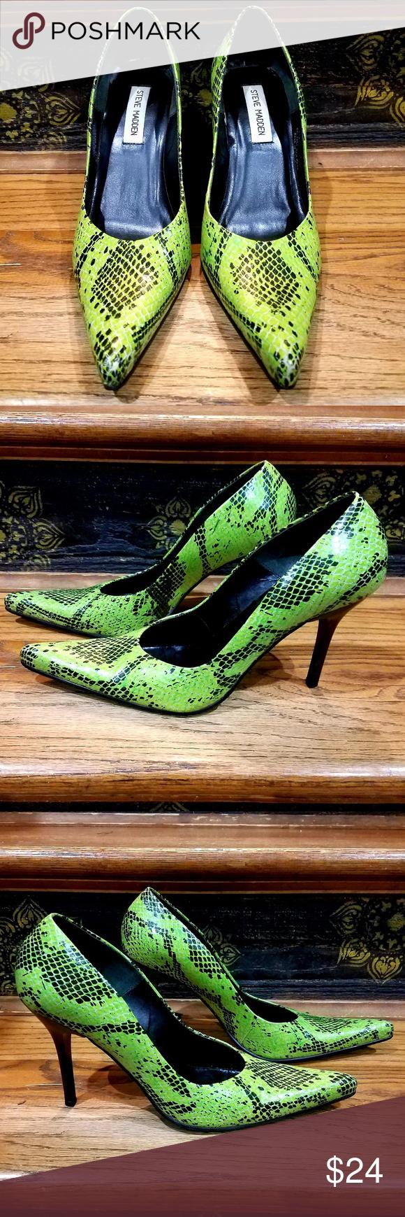 0e7da5a2ab5 Steve Madden Tarrah Snake Print Pointy Heels Let out your wild side ...